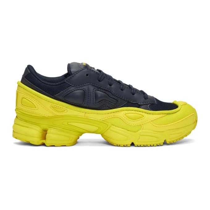 Raf Simons Navy and Yellow adidas Originals Edition Ozweego Sneakers
