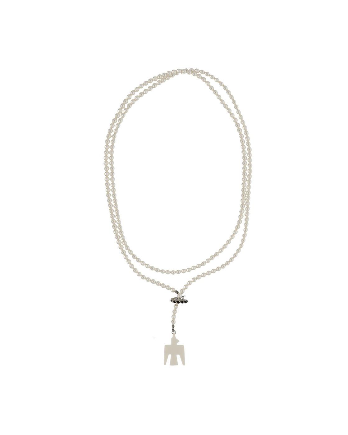 Kapital Std Battery Bird Pearl Necklace White