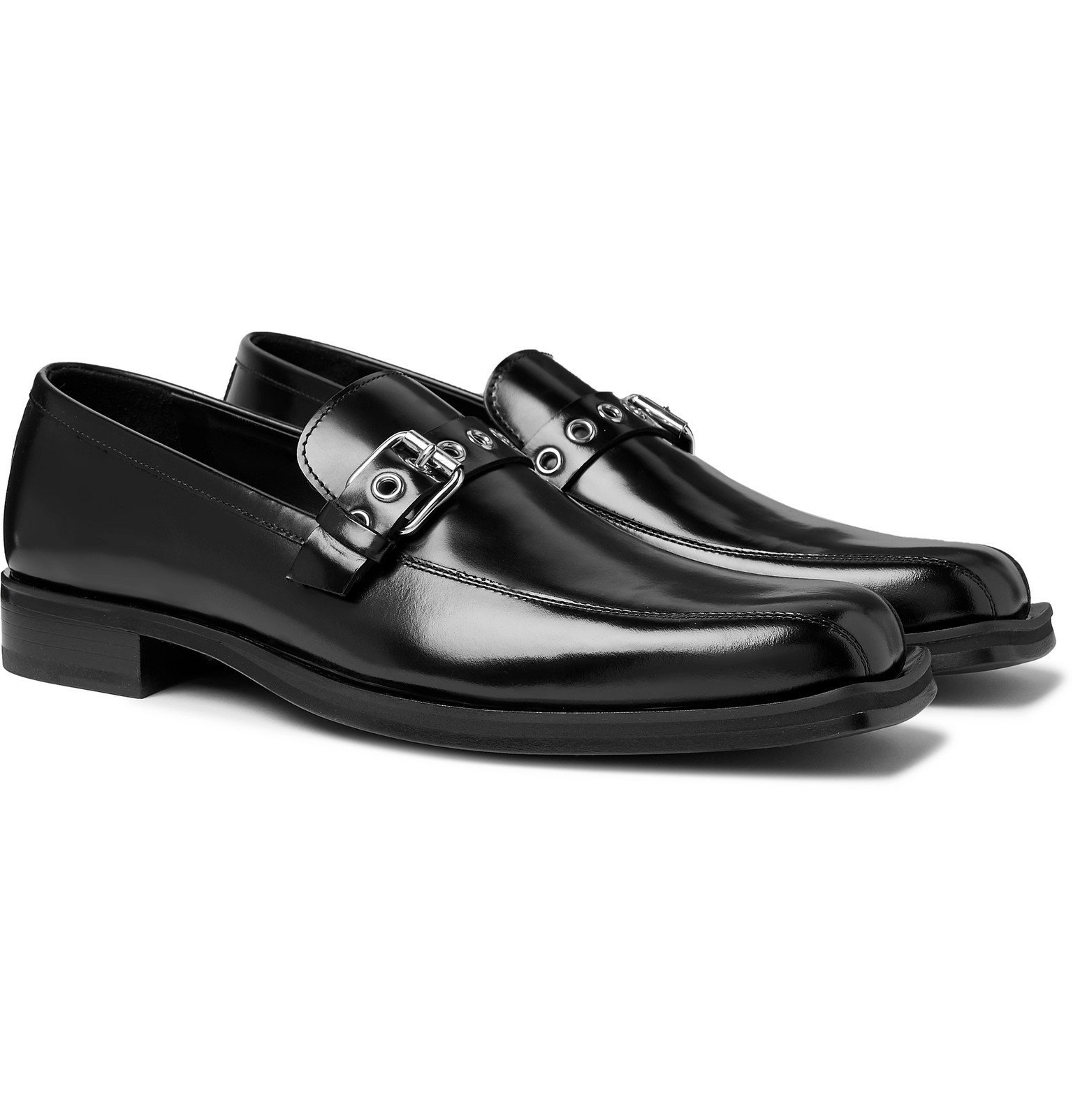 Photo: Versace - Buckled Glossed-Leather Loafers - Black