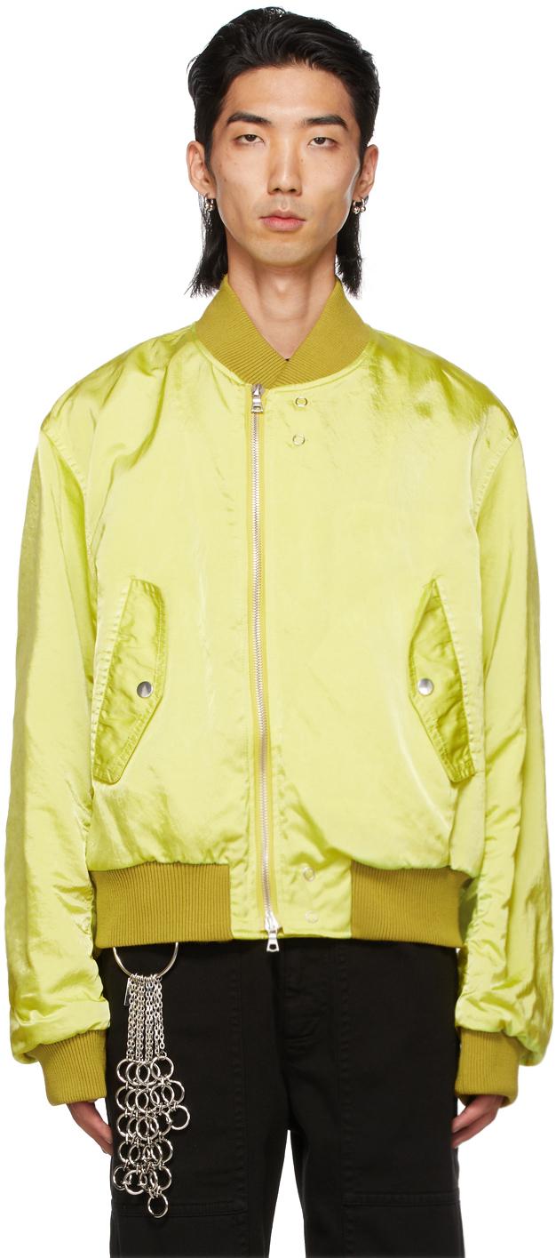 Photo: Dries Van Noten Yellow Crinkled Nylon Overdyed Bomber Jacket