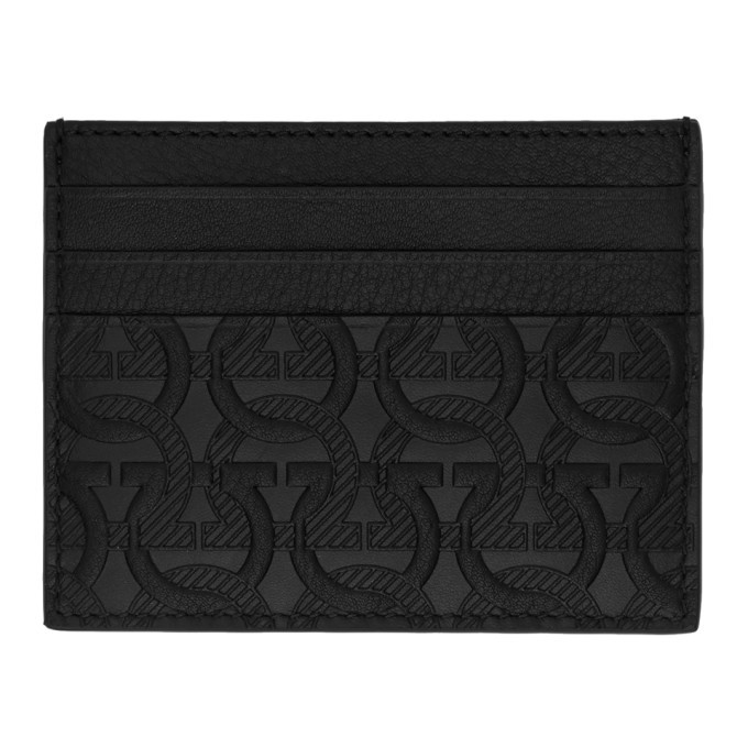 Photo: Salvatore Ferragamo Black Embossed Logo Card Holder