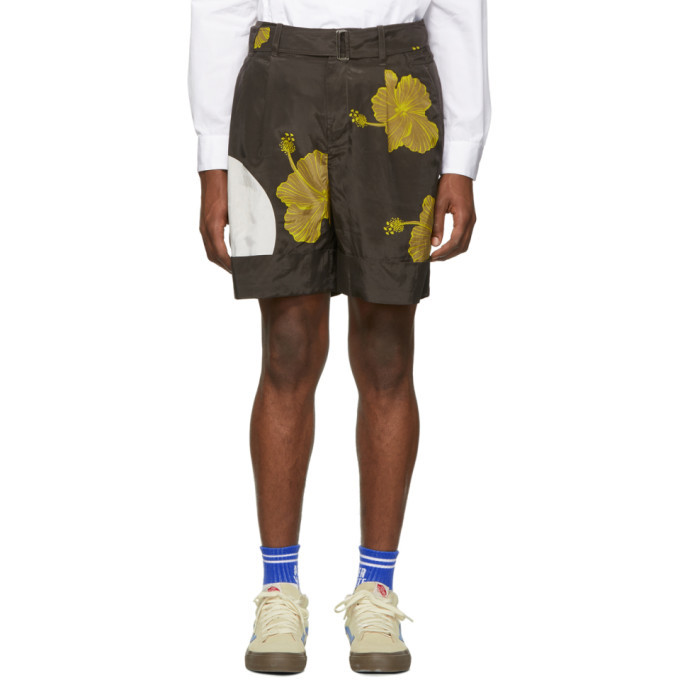 Photo: 3.1 Phillip Lim Brown and Yellow Twist Belt Hibiscus Floral Shorts
