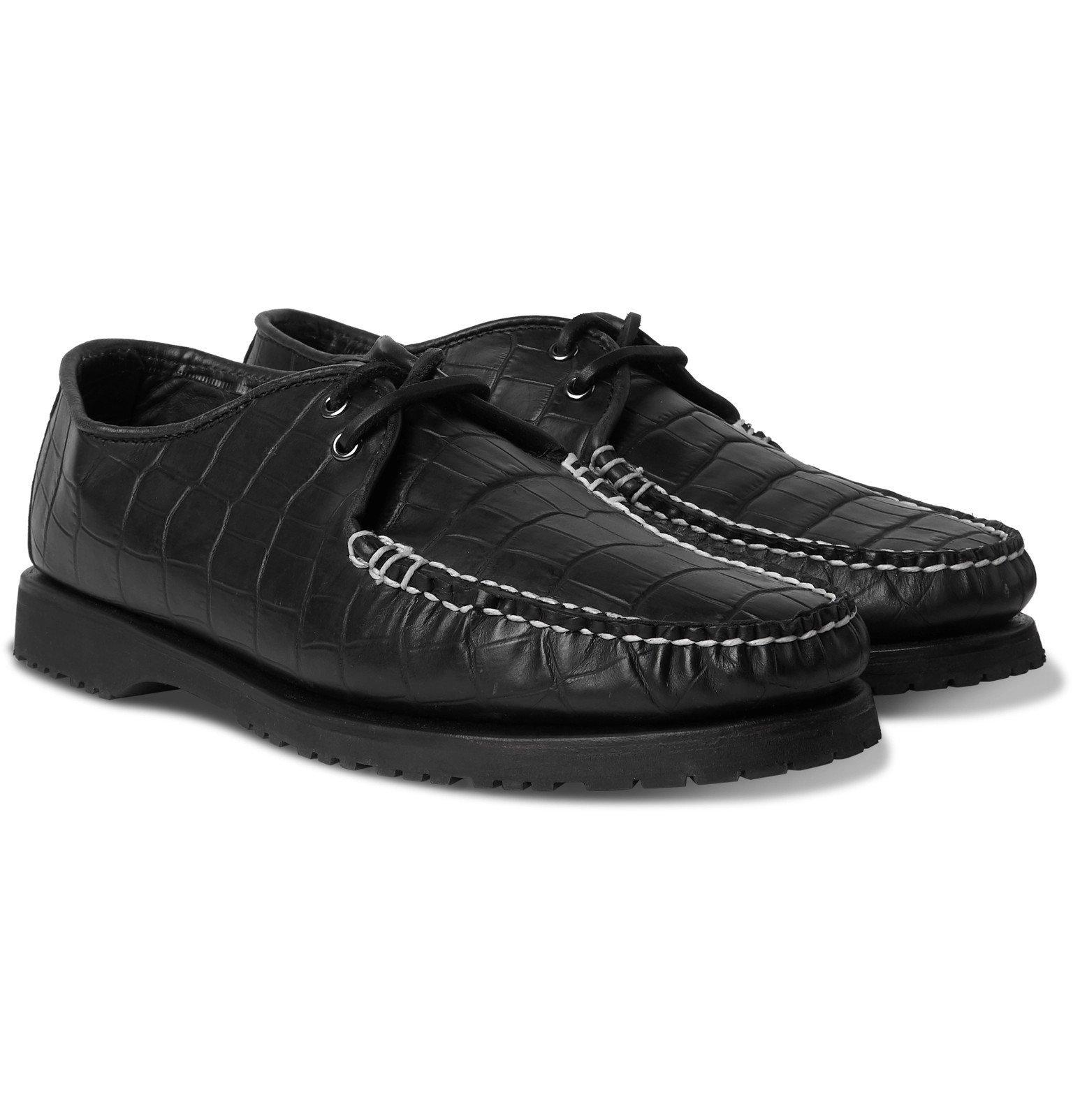 Photo: Noah - Sperry The Captain's Oxford Croc-Effect Leather Shoes - Black
