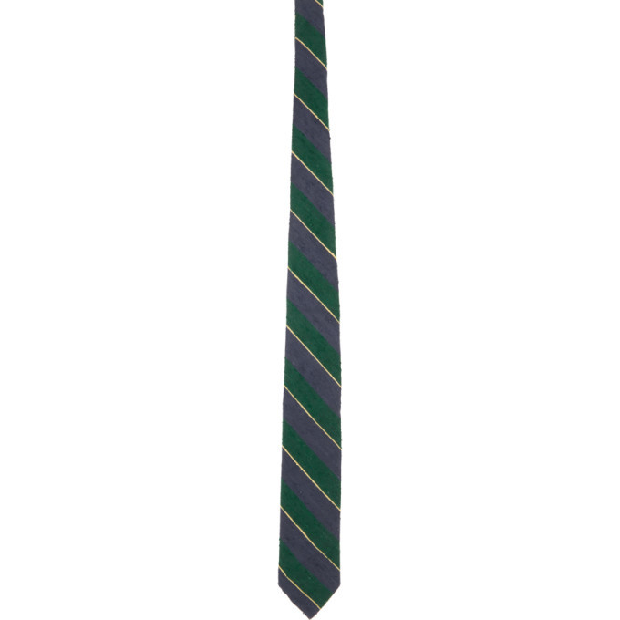 Photo: BEAMS PLUS Green and Navy Silk Shantung Striped Tie
