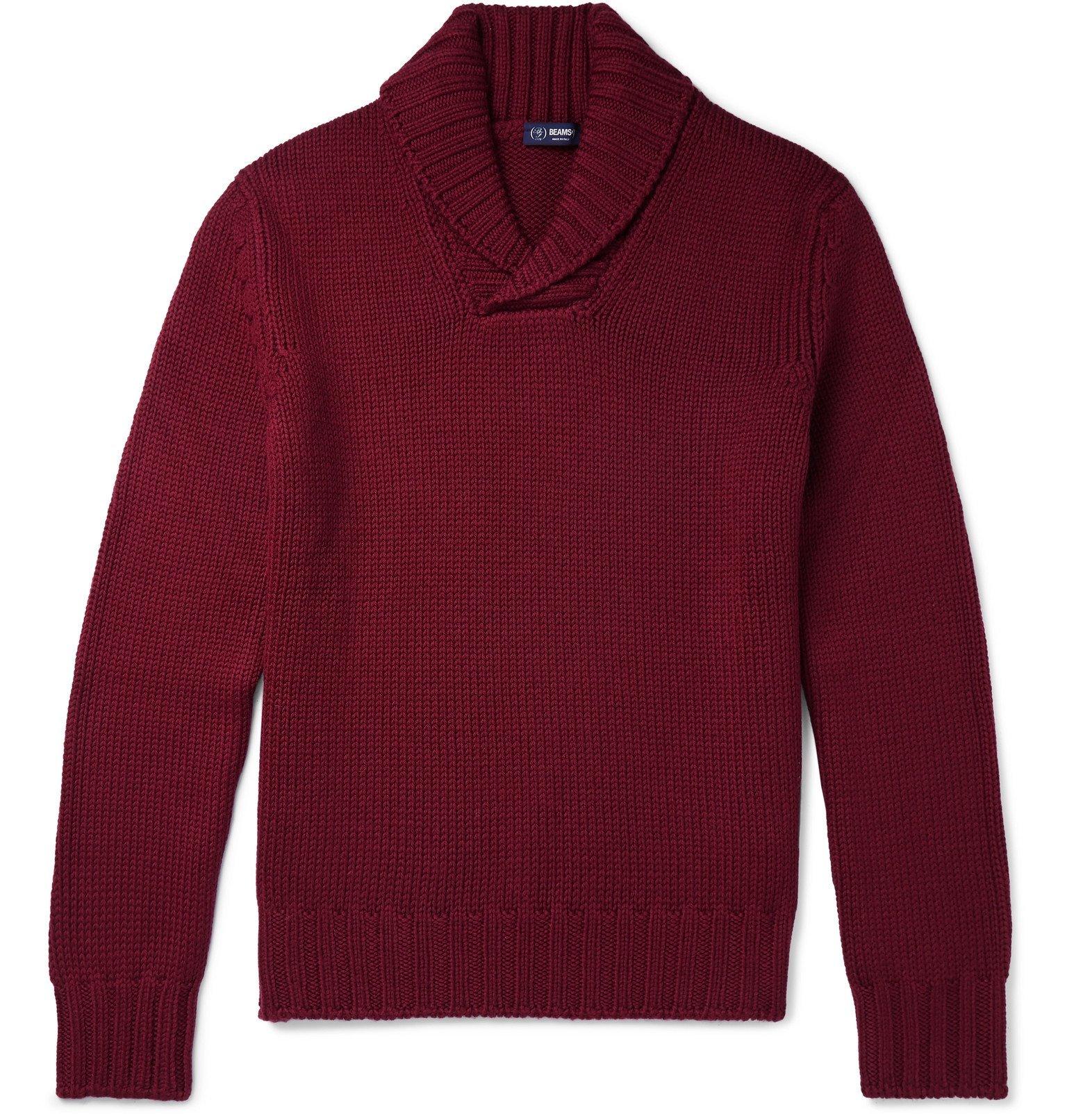 Photo: Beams F - Shawl-Collar Virgin Wool Sweater - Burgundy