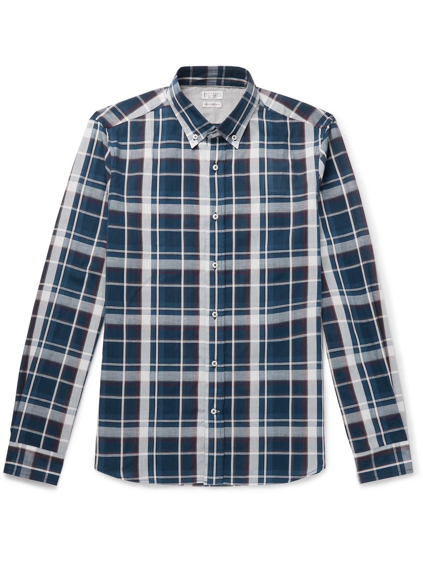 Photo: BRUNELLO CUCINELLI - Button-Down Collar Checked Cotton and Linen-Blend Shirt - Blue