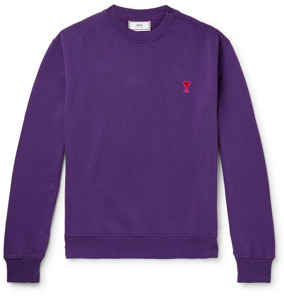 Photo: AMI - Logo-Appliquéd Loopback Cotton-Jersey Sweatshirt - Purple
