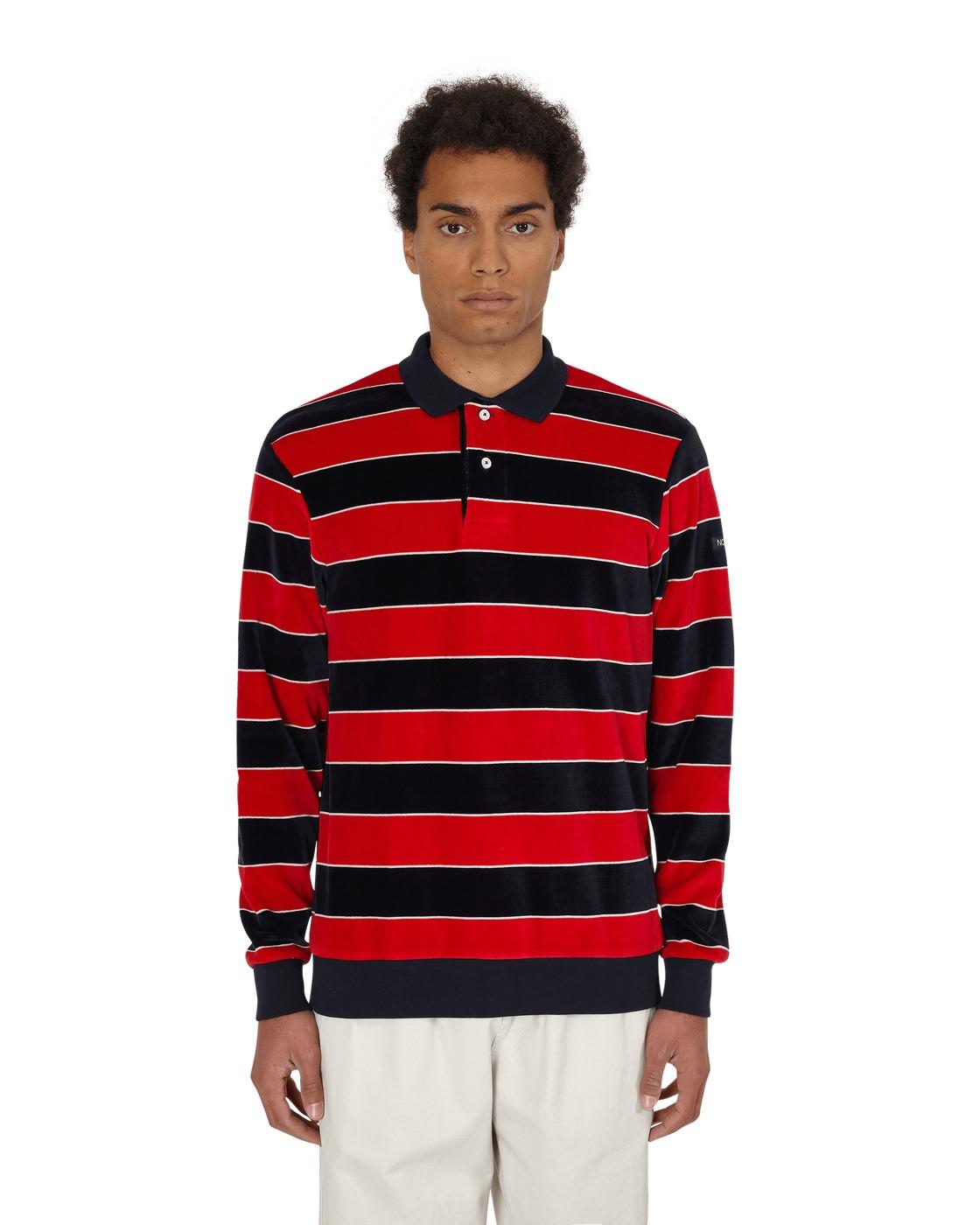 Photo: Noah Velour Stripe Polo Pullover Navy Stripe Combo