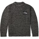 Raf Simons - Logo-Appliqued Ribbed Mélange Wool-Blend Sweater - Gray