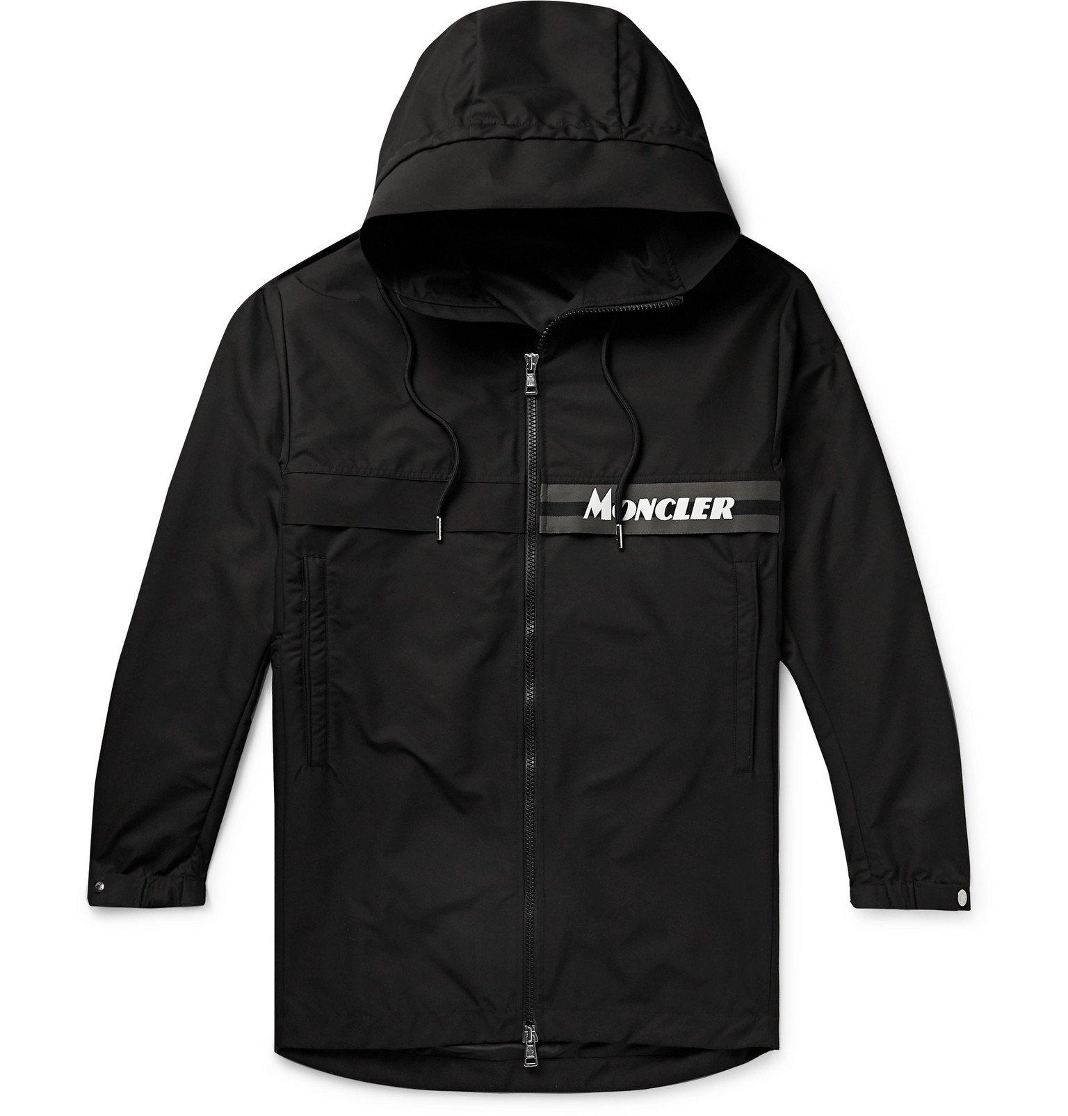 Moncler - Ildut Reflective-Trimmed Logo-Print Shell Hooded Jacket - Black
