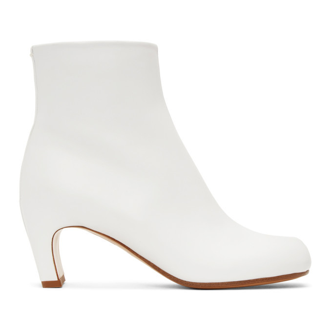 Photo: Maison Margiela White Leather Tabi Ankle Boots