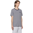 Acne Studios Navy and White Patch Striped T-Shirt