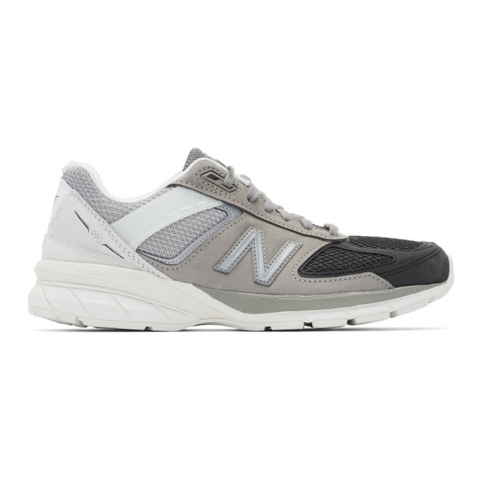 Photo: New Balance Grey and Black US Made 990v5 Sneakers