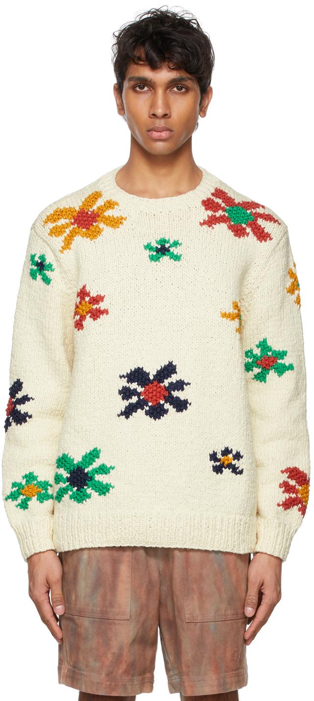 Photo: The Elder Statesman Off-White Flower Blast Sweater