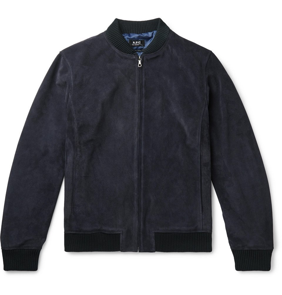 Photo: A.P.C. - Bryan Suede Bomber Jacket - Navy