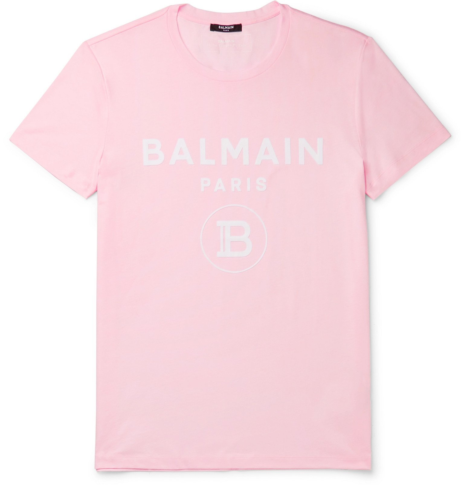 Photo: Balmain - Slim-Fit Logo-Flocked Cotton-Jersey T-Shirt - Pink