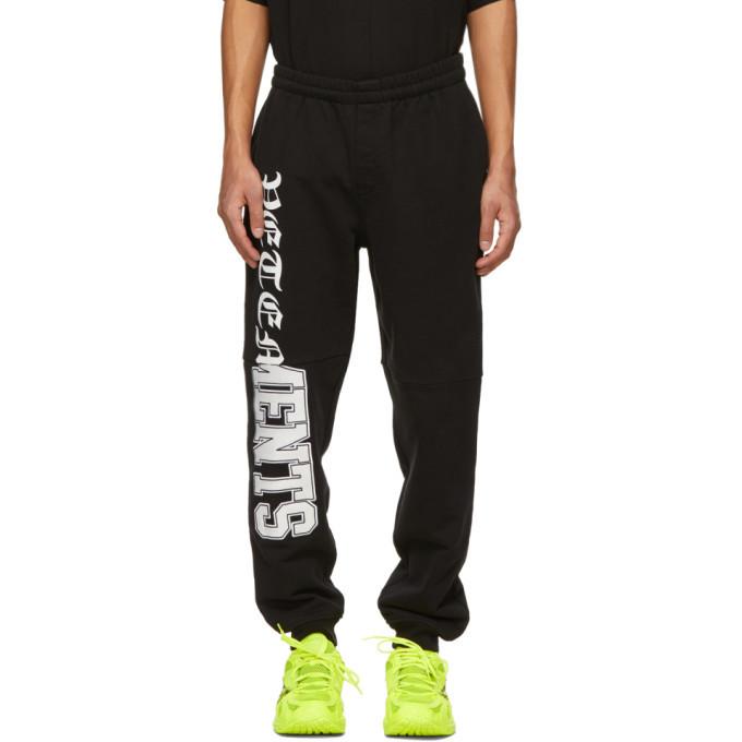 Photo: VETEMENTS Black Horizontal Cut-Up Logo Sweatpants
