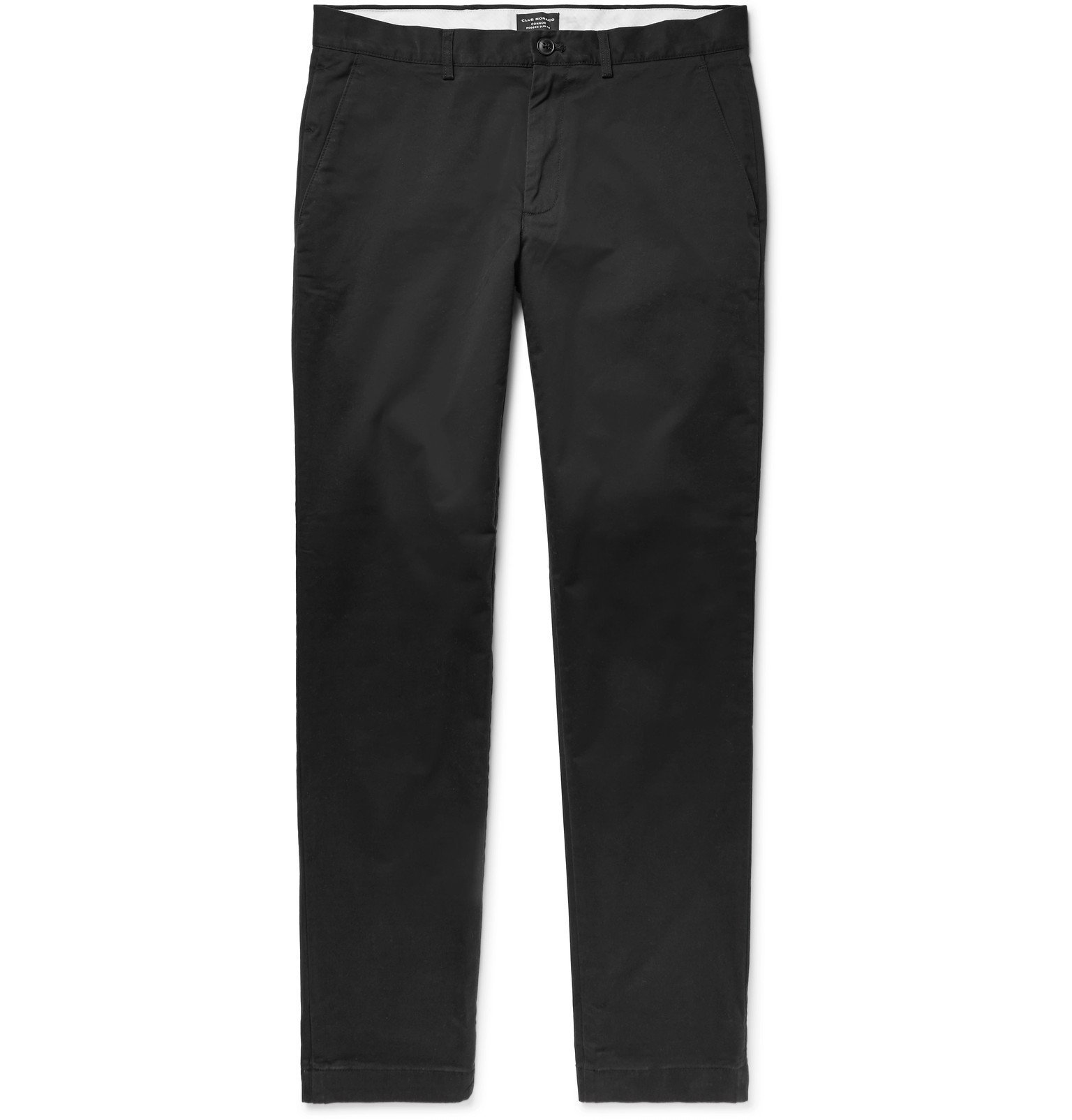 Photo: Club Monaco - Connor Slim-Fit Stretch-Cotton Twill Chinos - Black