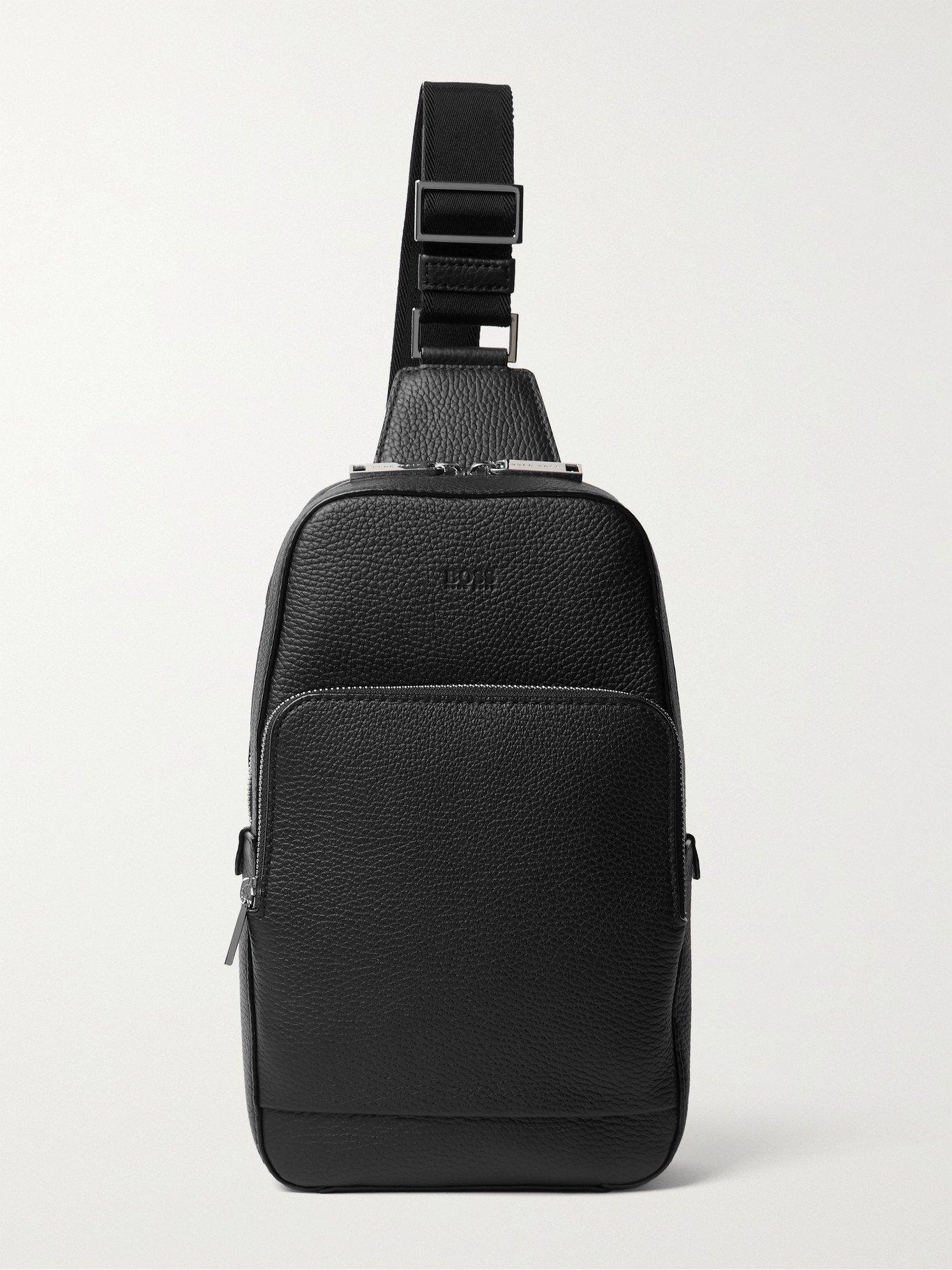 HUGO BOSS - Textured-Leather Sling Backpack - Black