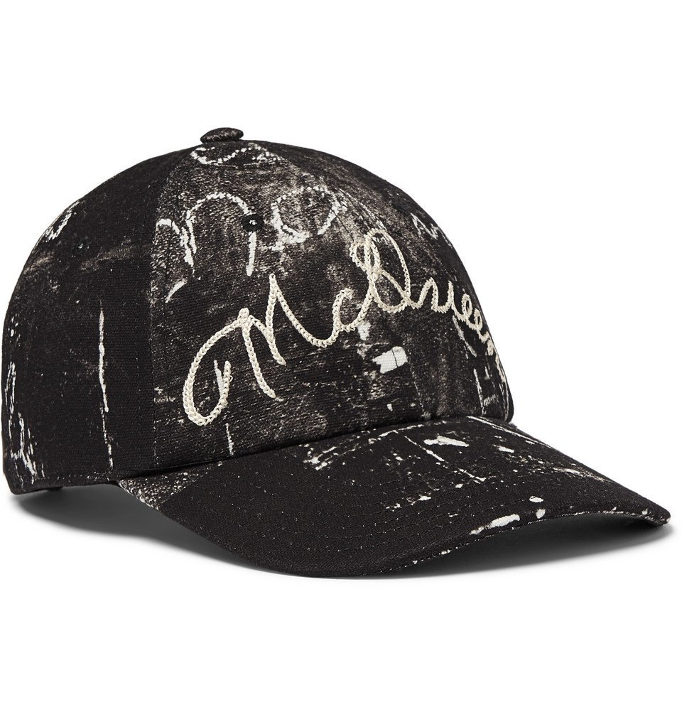 Photo: Alexander McQueen - Leather-Trimmed Embroidered Printed Cotton-Canvas Baseball Cap - Black