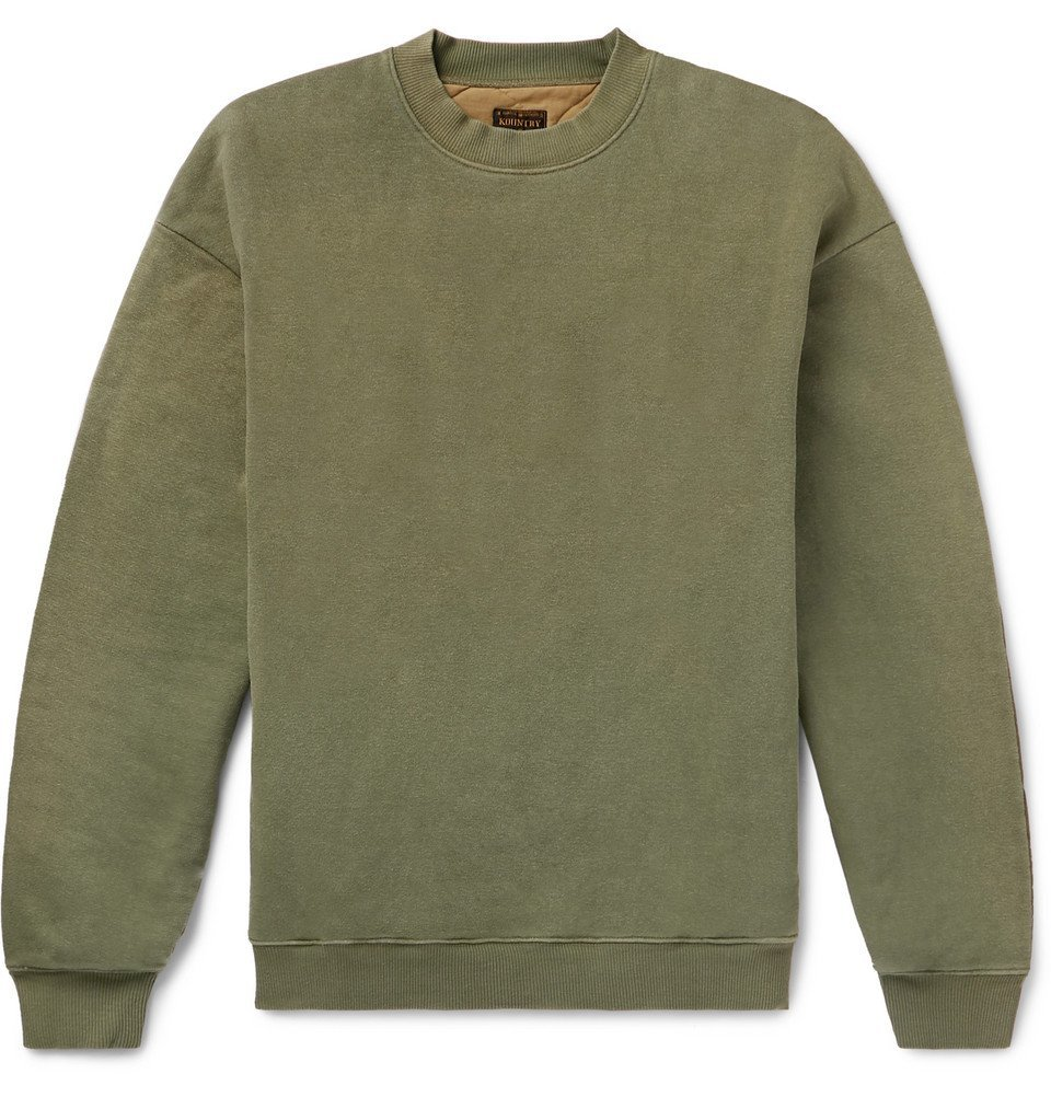 KAPITAL - Oversized Loopback Cotton-Jersey and Quilted Shell Sweatshirt - Men - Green