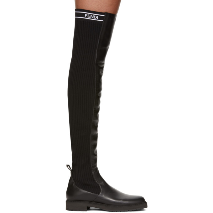 Fendi Black Knit Back Over-the-Knee