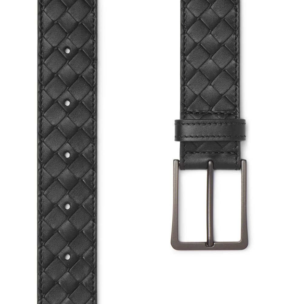 Bottega Veneta - 3.5cm Black Intrecciato Leather Belt - Black