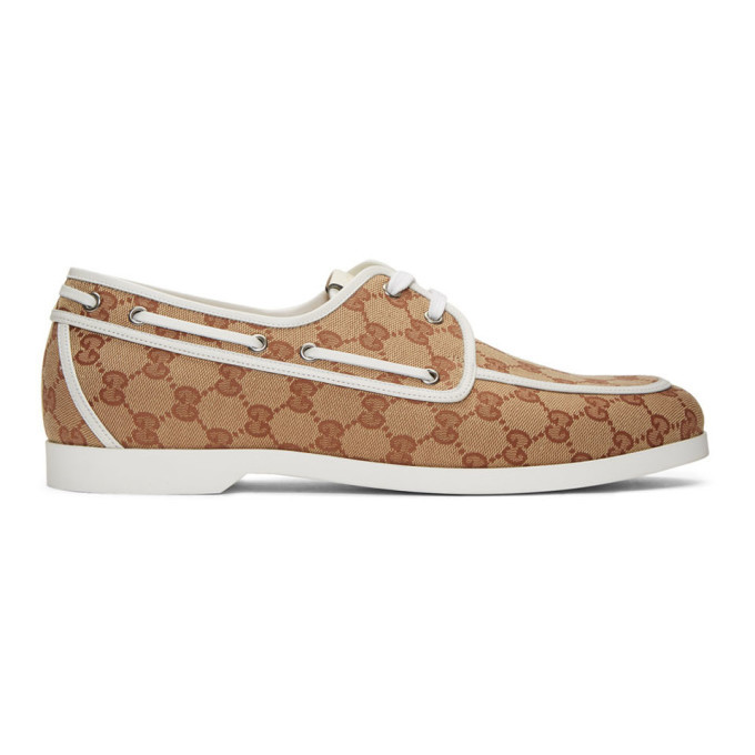 Photo: Gucci Brown and White Canvas GG Boat Shoes