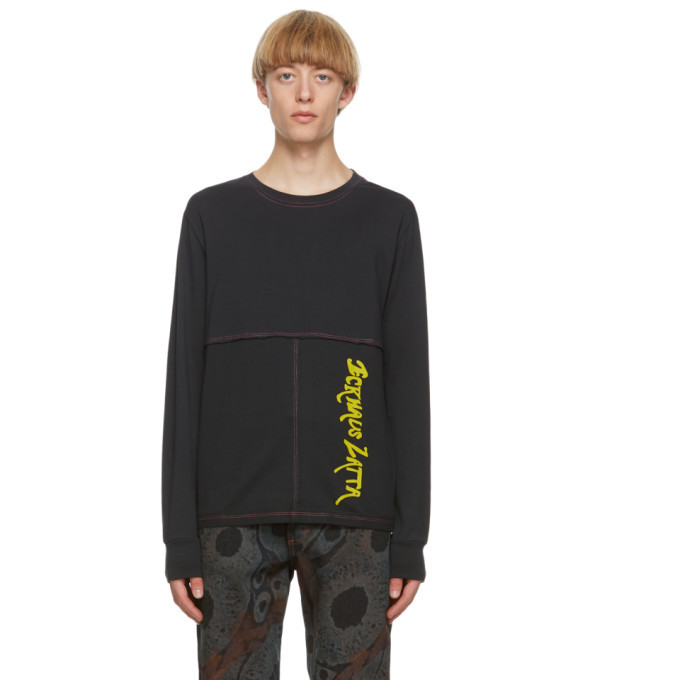 Photo: Eckhaus Latta Black Long Sleeve Lapped T-Shirt
