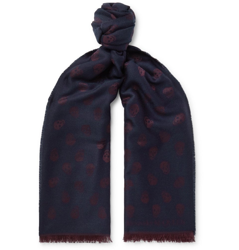 Photo: Alexander McQueen - Fringed Wool and Silk-Blend Jacquard Scarf - Navy