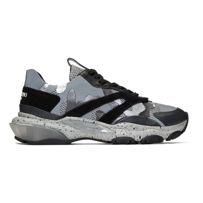 Photo: Valentino Black and Grey Valentino Garavani Bounce Sneakers