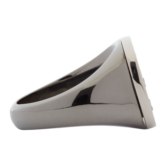 Versace Silver Greek Key Signet Ring