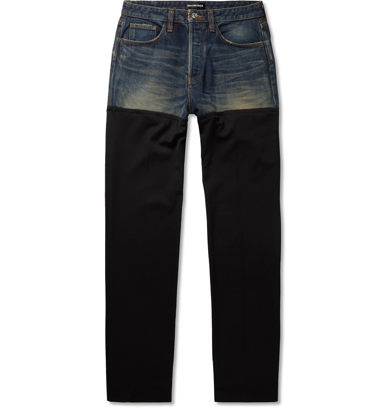 Photo: BALENCIAGA - Distressed Panelled Denim and Wool-Twill Jeans - Blue