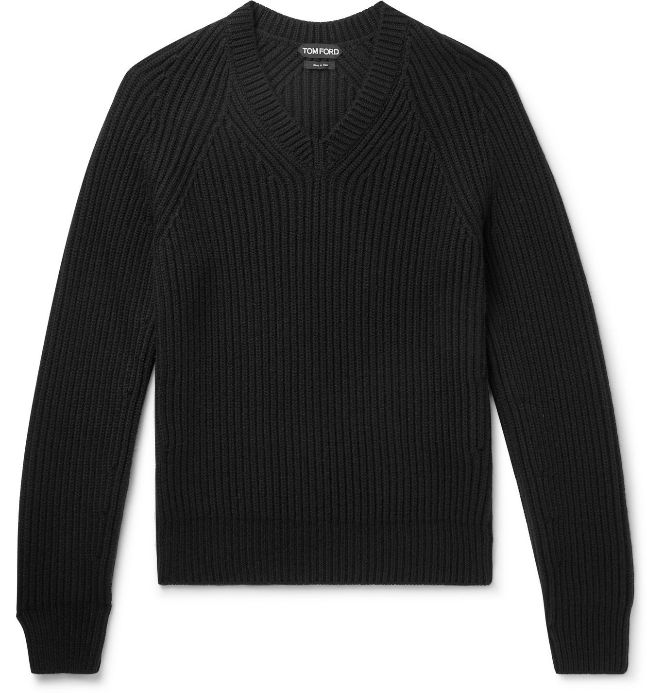 Photo: TOM FORD - Slim-Fit Ribbed Cashmere Sweater - Black