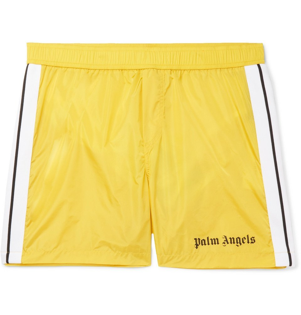 Photo: Palm Angels - Mid-Length Striped Swim Shorts - Men - Yellow
