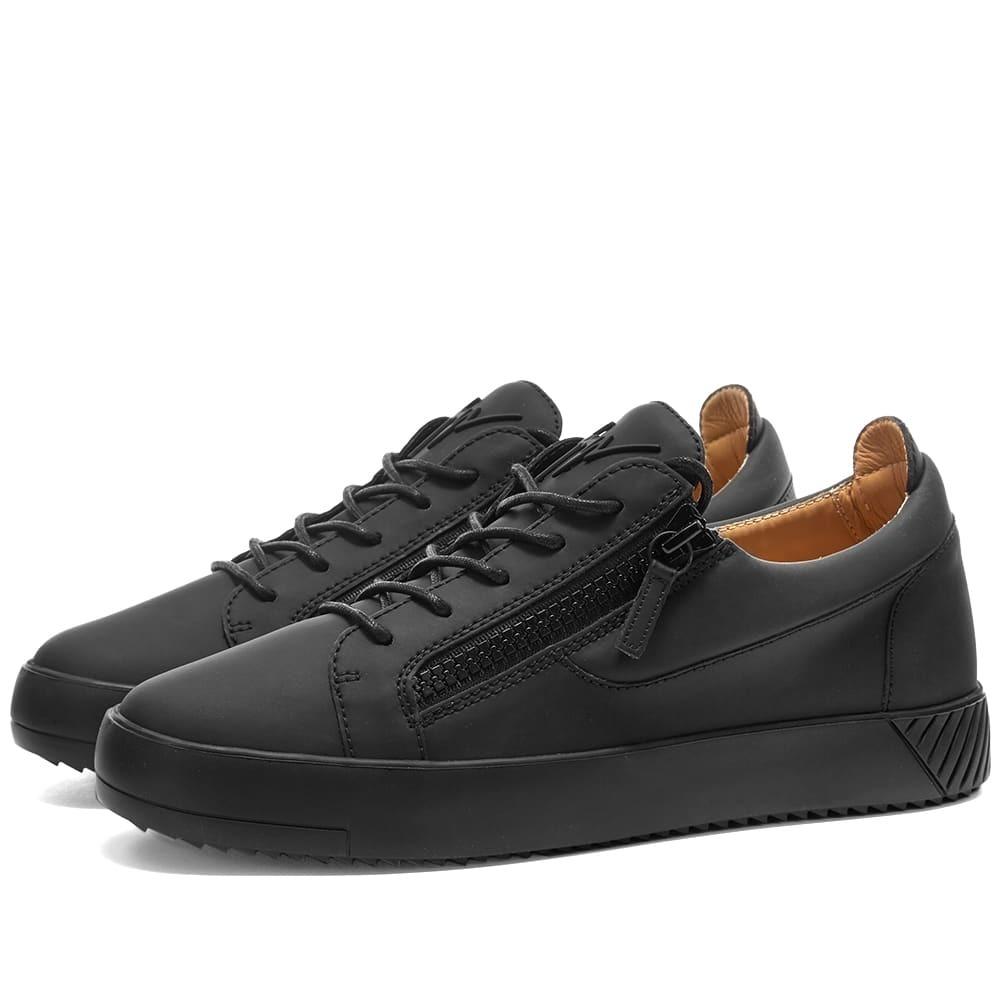Photo: Giuseppe Zanotti Rubberised Low Zip Tonal Sneaker Black