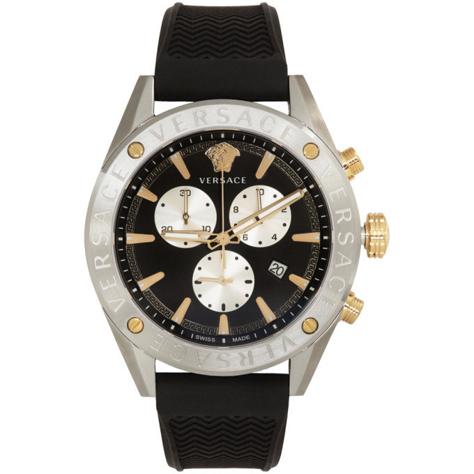 Versace Silver and Black V-Chrono Watch