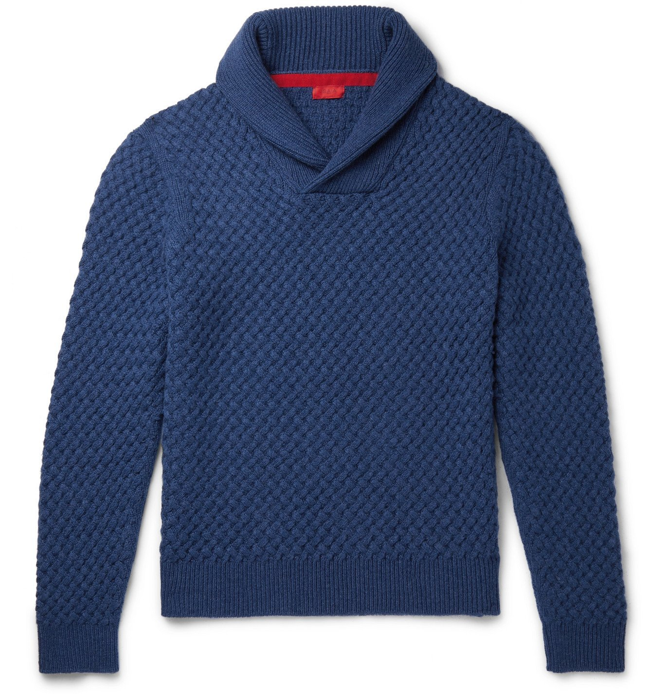 Photo: Isaia - Slim-Fit Shawl-Collar Cable-Knit Cashmere Sweater - Blue