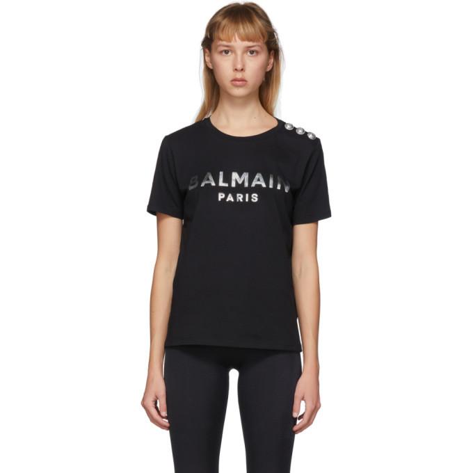Balmain Black and Silver 3-Button Metallic Logo T-Shirt Balmain