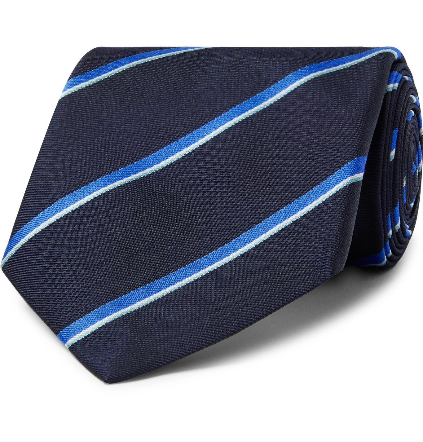 Dunhill - 8.5cm Striped Mulberry Silk-Twill Tie - Blue