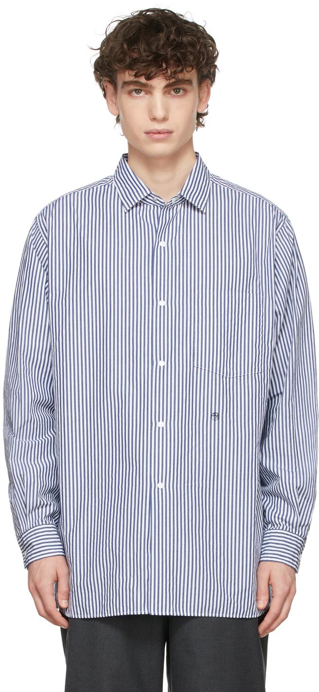 Photo: Nanamica Navy & White Regular Collar Stripe Wind Shirt