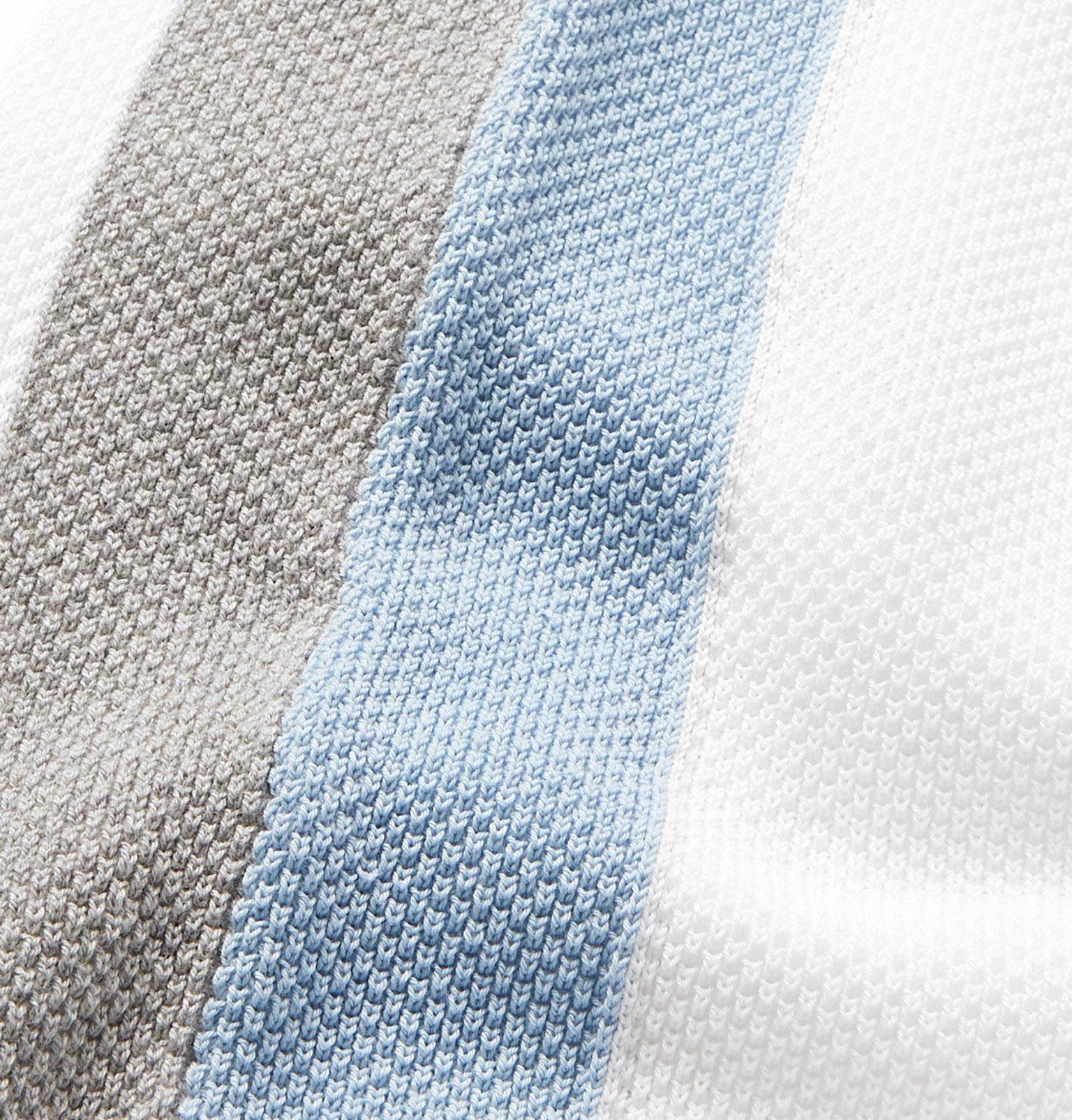 Tod's - Striped Cotton-Piqué Polo Shirt - White