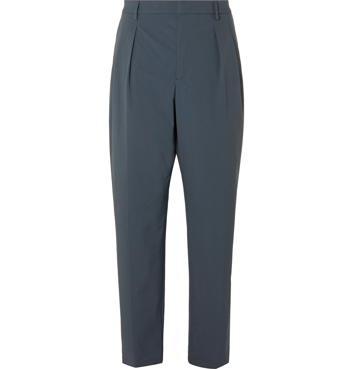 Photo: Valentino - Tapered Pleated Tech Cotton-Blend Trousers - Gray