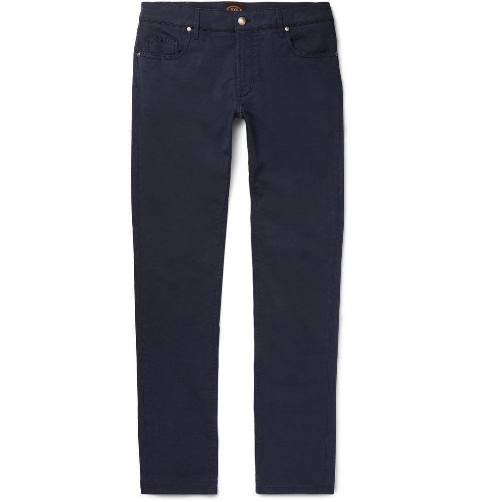 Tod's - Slim-Fit Stretch-Cotton Twill Trousers - Men - Navy