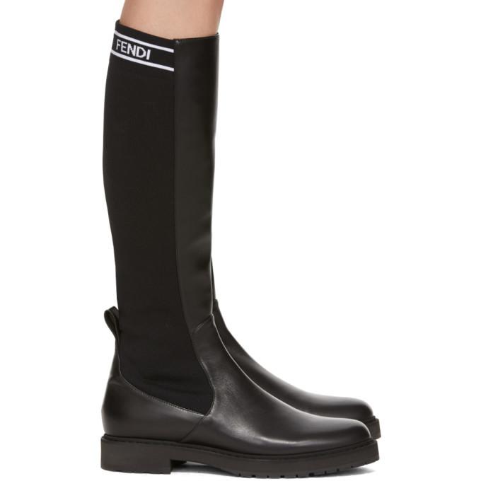 Fendi Black Tall Sock Boots Fendi