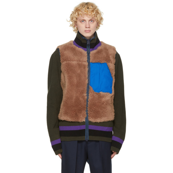 Photo: Sacai Brown Wool Panelled Vest