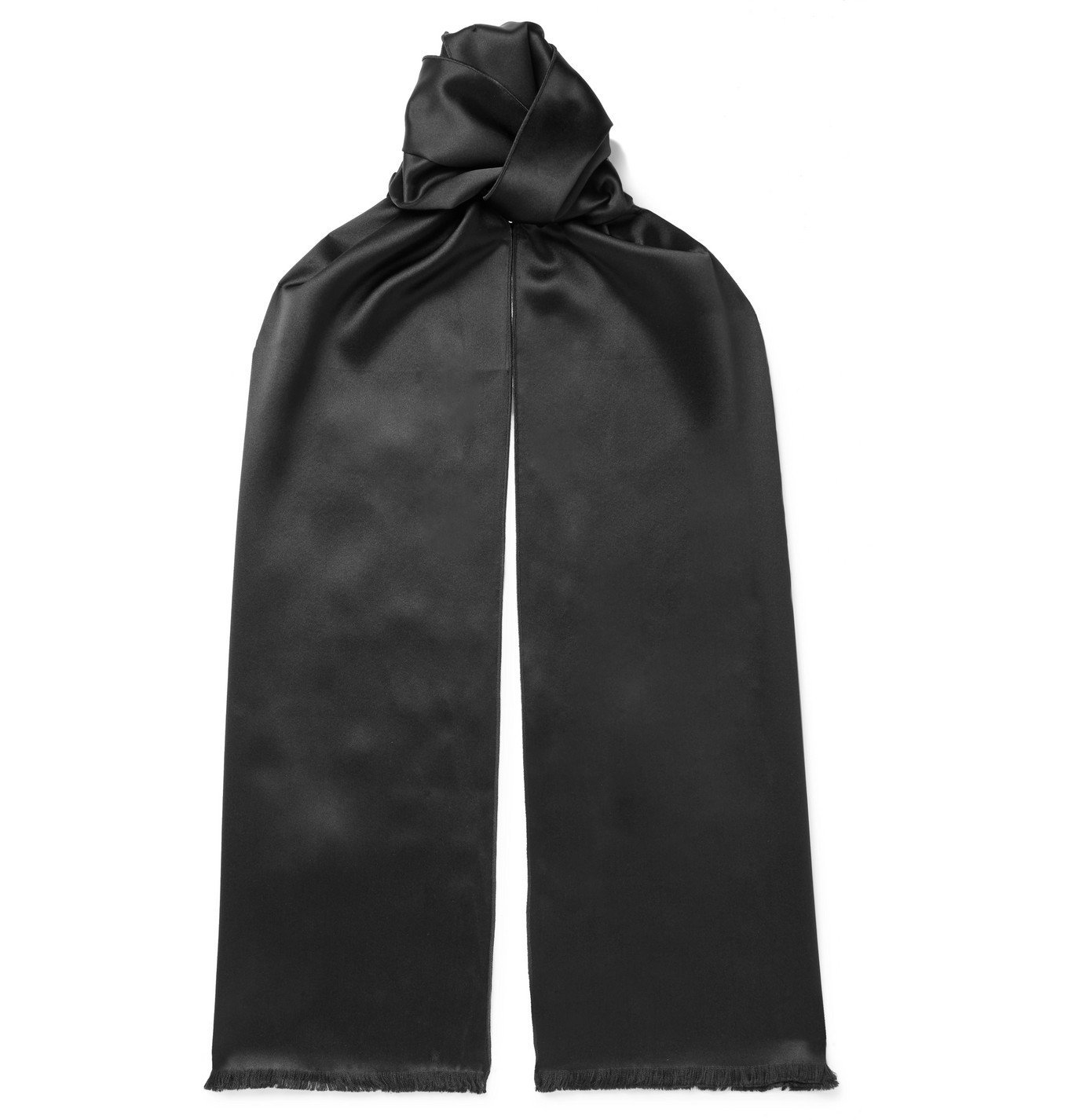 Photo: TOM FORD - Logo-Embroidered Silk-Satin Scarf - Black