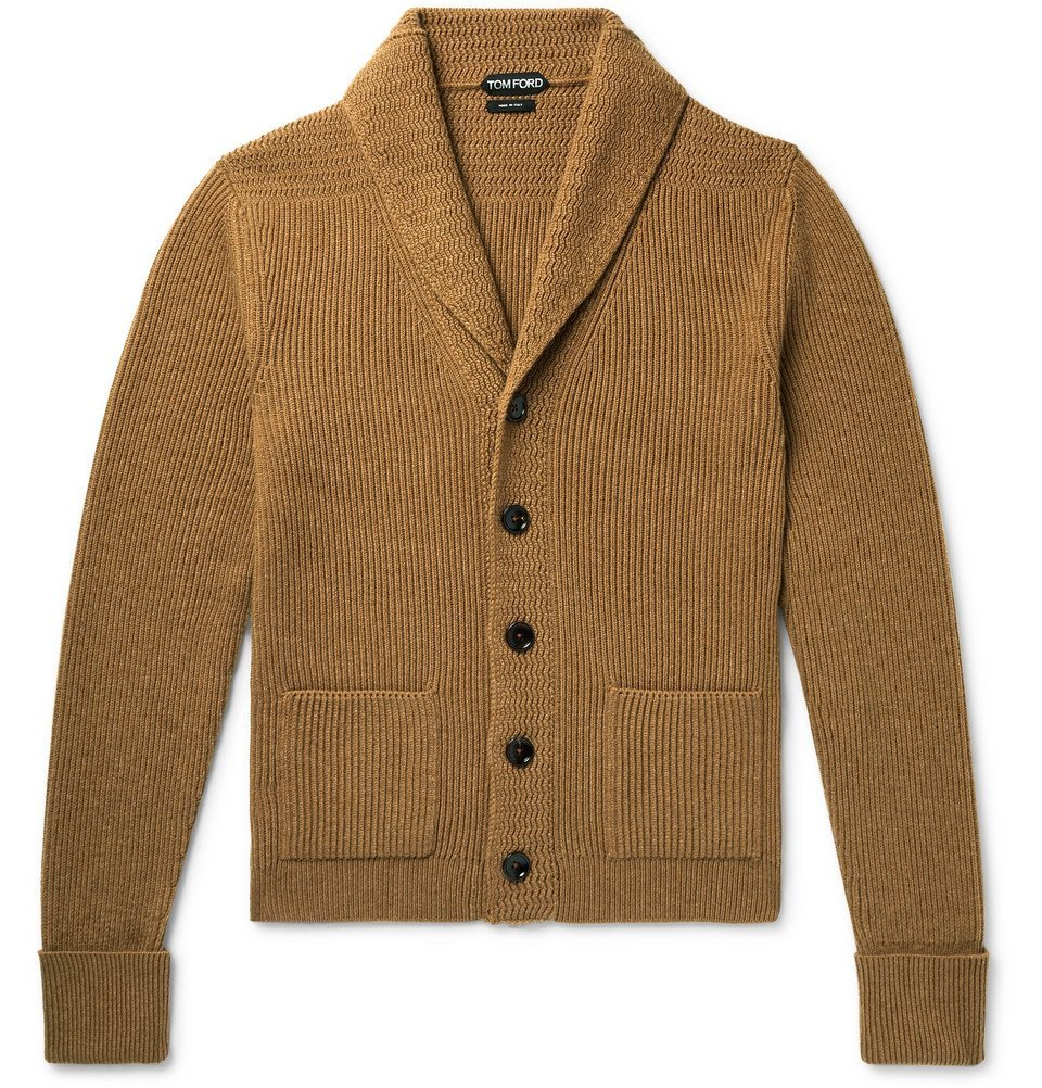 Photo: TOM FORD - Shawl-Collar Ribbed Cashmere Cardigan - Camel