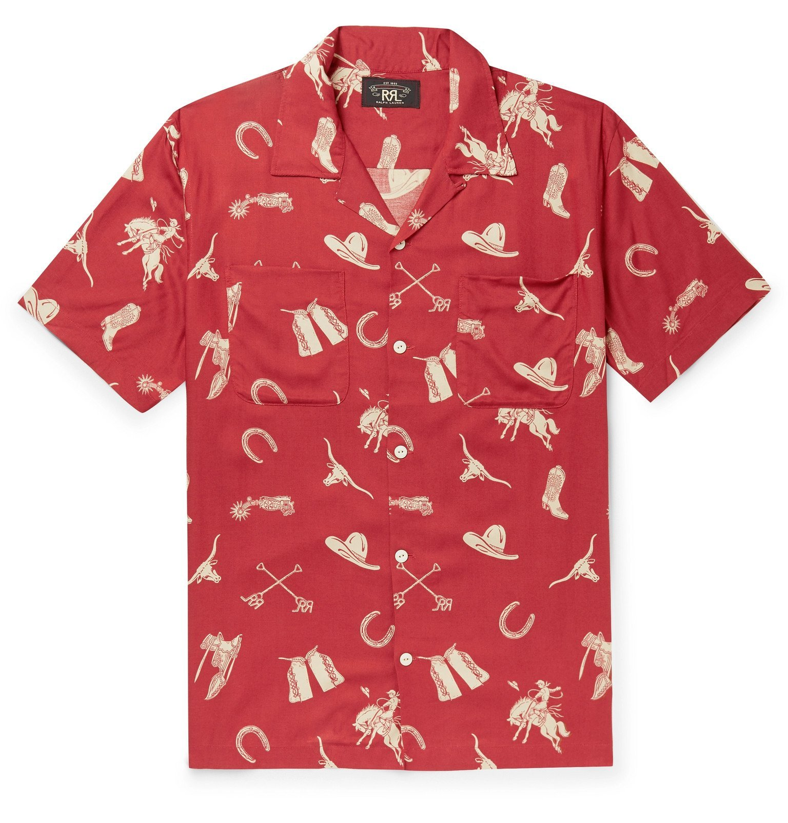 RRL - Camp-Collar Printed Woven Shirt - Red