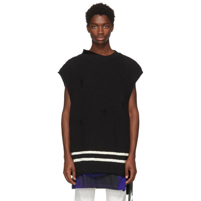 Photo: Undercover Black Sleeveless Distressed Sweater